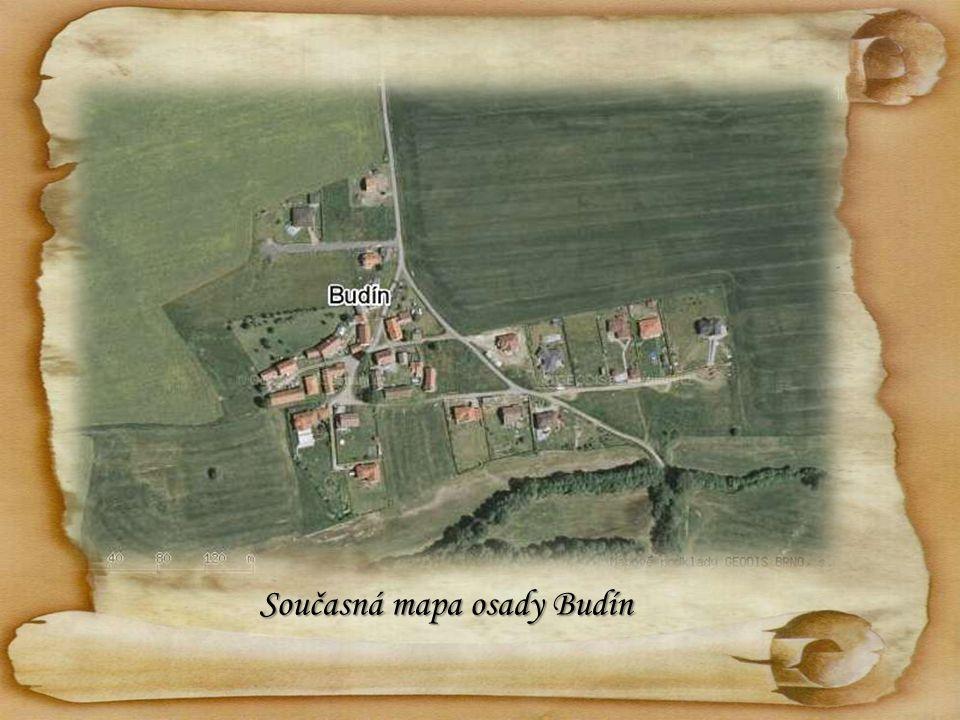 Současná mapa osady Budín