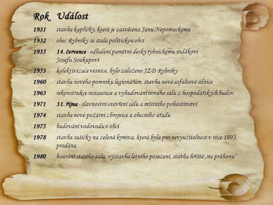 RokUdálost 1931stavba kapličky, která je zasvěcena Janu Nepomuckému 1932obec Rybníky se stala politickou obcí 1935 14. července 14. července - odhalen