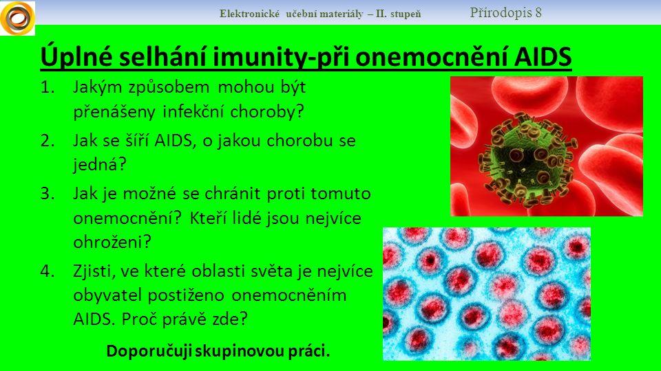 Elektronické učební materiály – II. stupeň Přírodopis 8 Úplné selhání imunity-při onemocnění AIDS 1.Jakým způsobem mohou být přenášeny infekční chorob