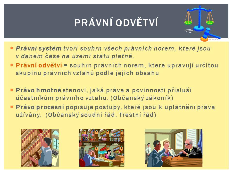  Právní systém tvoří souhrn všech právních norem, které jsou v daném čase na území státu platné.