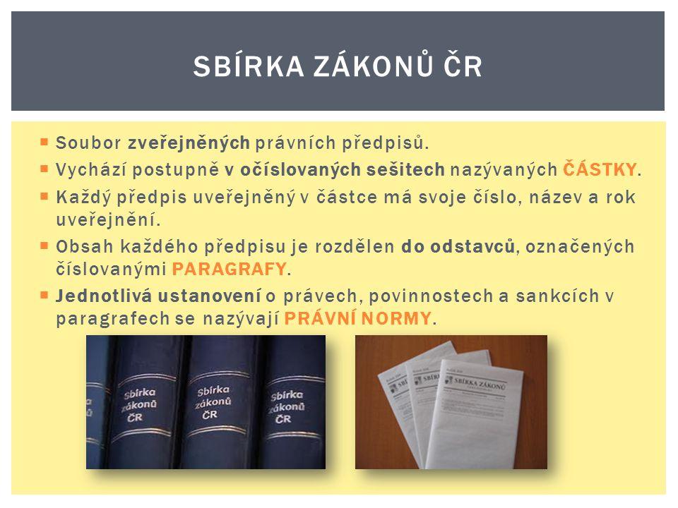 Soubor zveřejněných právních předpisů.