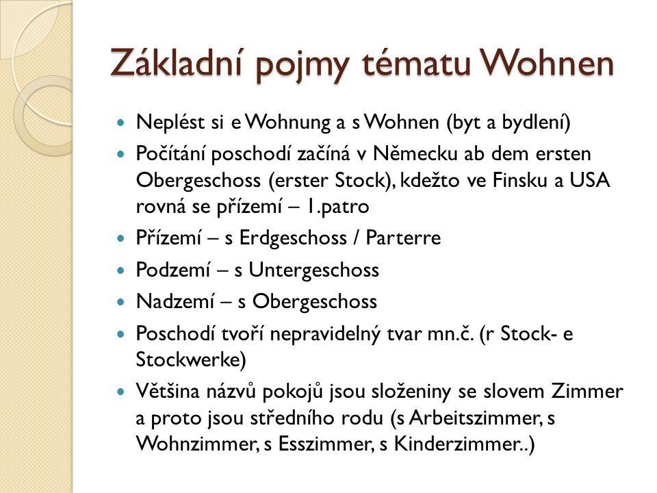 Základní pojmy tématu Wohnen Neplést si e Wohnung a s Wohnen (byt a bydlení) Počítání poschodí začíná v Německu ab dem ersten Obergeschoss (erster Stock), kdežto ve Finsku a USA rovná se přízemí – 1.patro Přízemí – s Erdgeschoss / Parterre Podzemí – s Untergeschoss Nadzemí – s Obergeschoss Poschodí tvoří nepravidelný tvar mn.č.