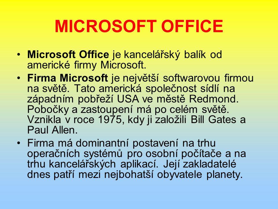 MICROSOFT OFFICE Microsoft Office je kancelářský balík od americké firmy Microsoft.