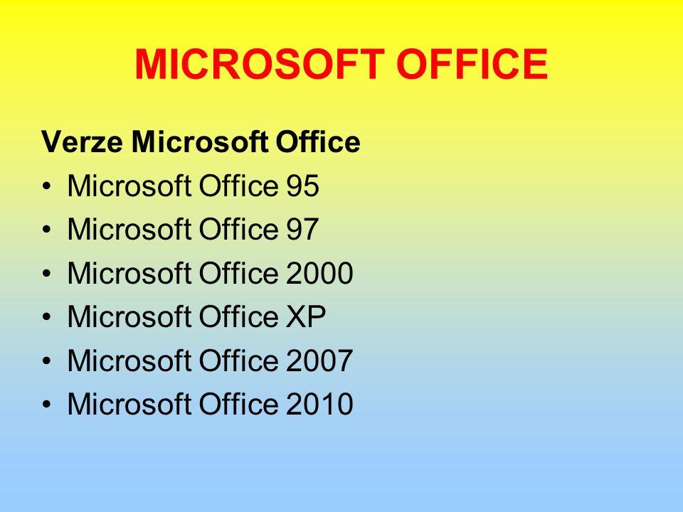 MICROSOFT OFFICE Verze Microsoft Office Microsoft Office 95 Microsoft Office 97 Microsoft Office 2000 Microsoft Office XP Microsoft Office 2007 Microsoft Office 2010