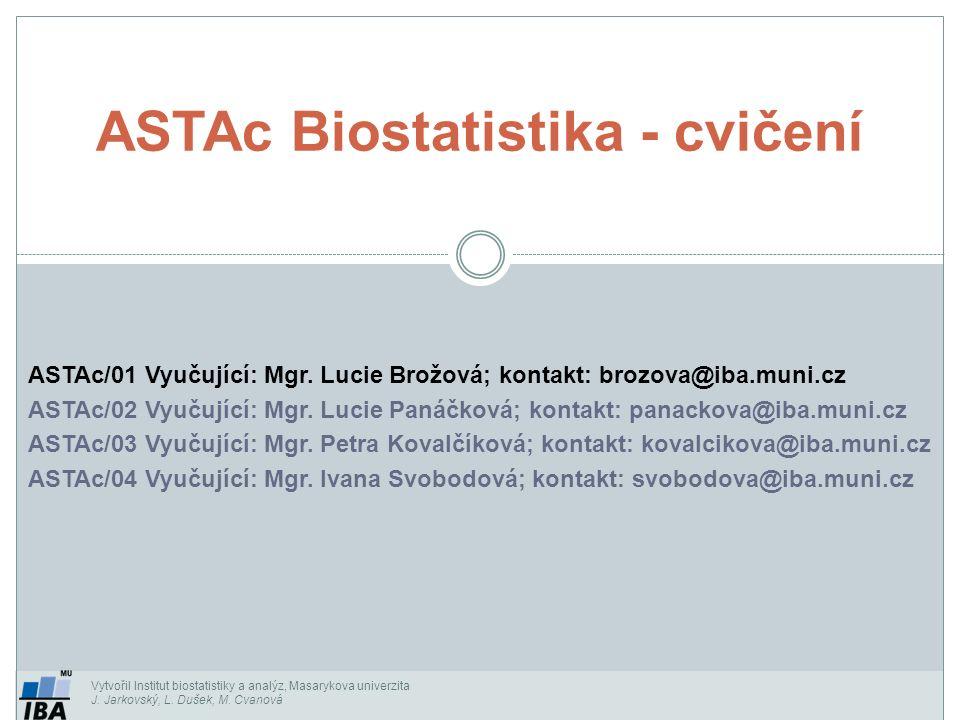 Vytvořil Institut biostatistiky a analýz, Masarykova univerzita J. Jarkovský, L. Dušek, M. Cvanová ASTAc/01 Vyučující: Mgr. Lucie Brožová; kontakt: br