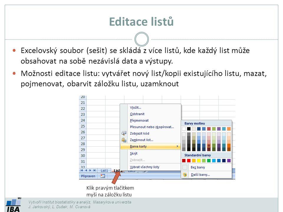 Editace listů Vytvořil Institut biostatistiky a analýz, Masarykova univerzita J. Jarkovský, L. Dušek, M. Cvanová Excelovský soubor (sešit) se skládá z