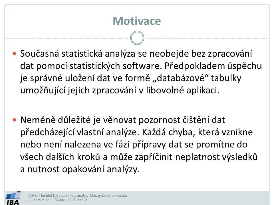 Vytvořil Institut biostatistiky a analýz, Masarykova univerzita J. Jarkovský, L. Dušek, M. Cvanová Motivace Současná statistická analýza se neobejde b