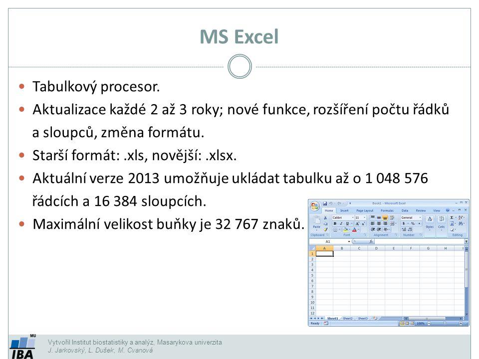 Vytvořil Institut biostatistiky a analýz, Masarykova univerzita J. Jarkovský, L. Dušek, M. Cvanová Tabulkový procesor. Aktualizace každé 2 až 3 roky;