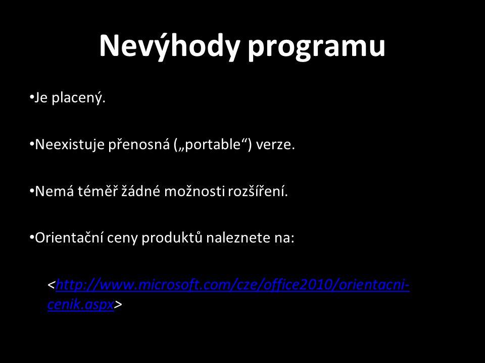"""Nevýhody programu Je placený. Neexistuje přenosná (""""portable ) verze."""