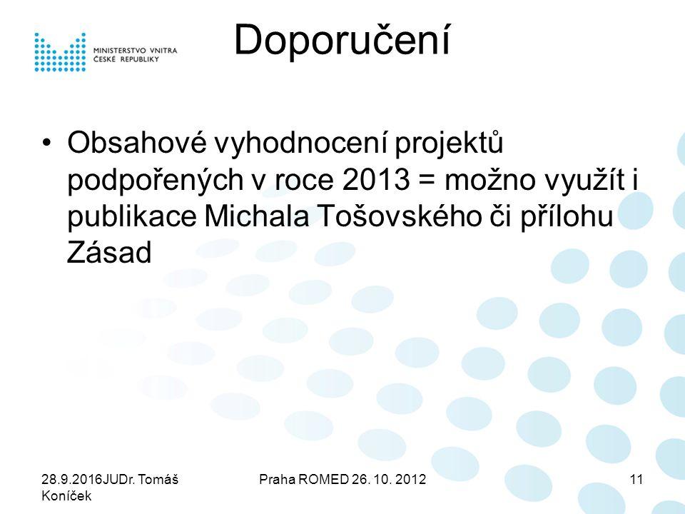 Doporučení Obsahové vyhodnocení projektů podpořených v roce 2013 = možno využít i publikace Michala Tošovského či přílohu Zásad 28.9.2016JUDr. Tomáš K