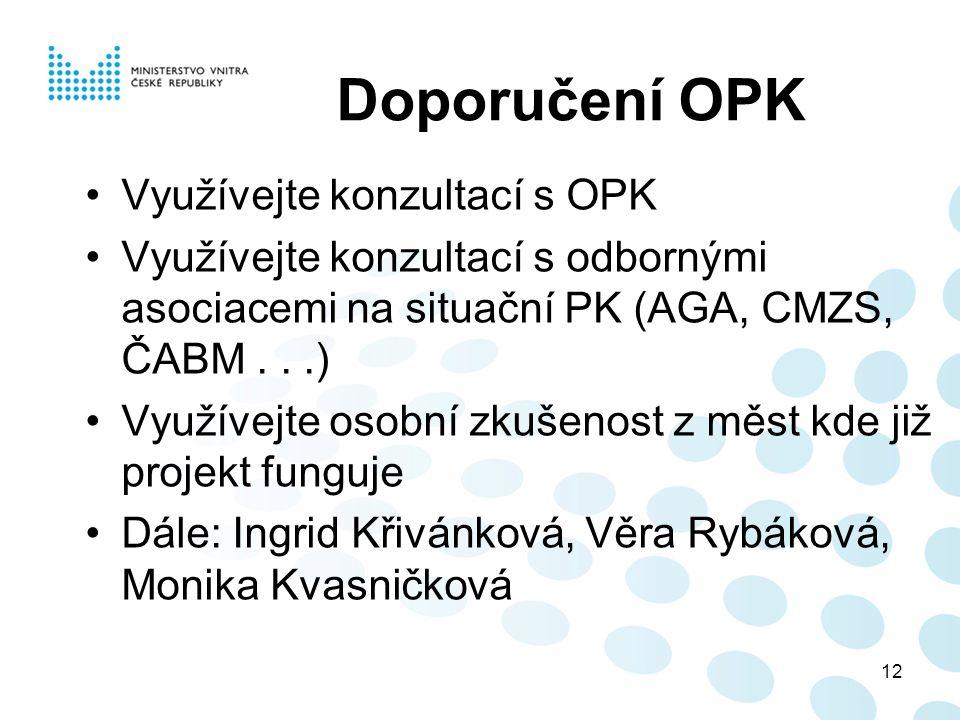 12 Doporučení OPK Využívejte konzultací s OPK Využívejte konzultací s odbornými asociacemi na situační PK (AGA, CMZS, ČABM...) Využívejte osobní zkuše