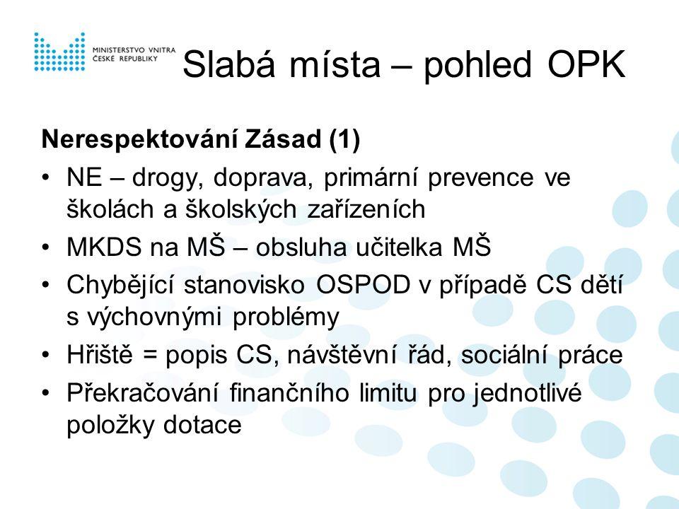 Slabá místa – pohled OPK Nerespektování Zásad (1) NE – drogy, doprava, primární prevence ve školách a školských zařízeních MKDS na MŠ – obsluha učitel