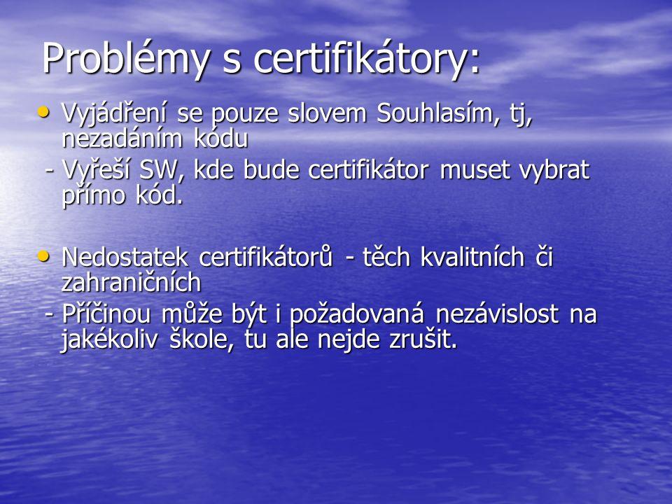 Problémy s certifikátory: Vyjádření se pouze slovem Souhlasím, tj, nezadáním kódu Vyjádření se pouze slovem Souhlasím, tj, nezadáním kódu - Vyřeší SW,