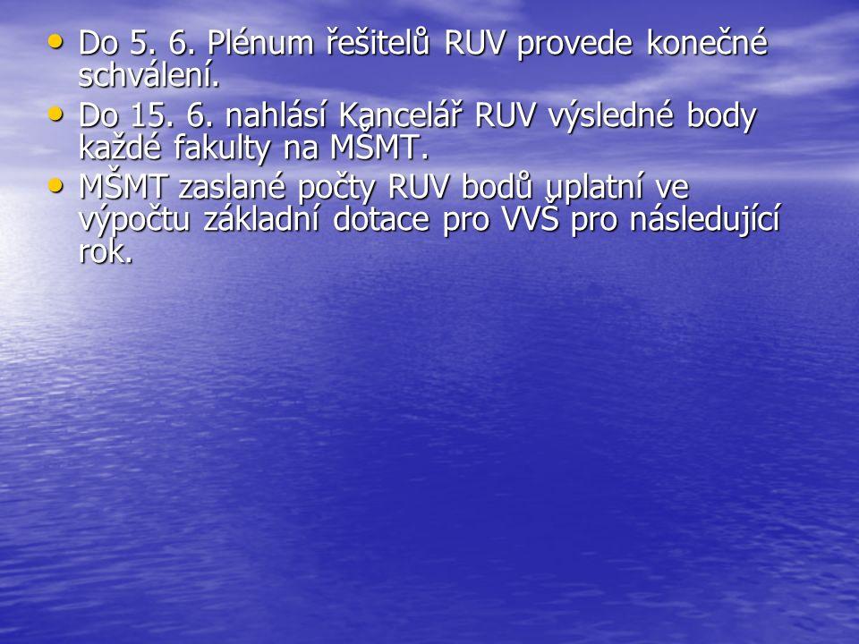 Do 5. 6. Plénum řešitelů RUV provede konečné schválení. Do 5. 6. Plénum řešitelů RUV provede konečné schválení. Do 15. 6. nahlásí Kancelář RUV výsledn