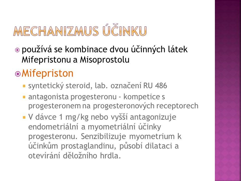  používá se kombinace dvou účinných látek Mifepristonu a Misoprostolu  Mifepriston  syntetický steroid, lab.