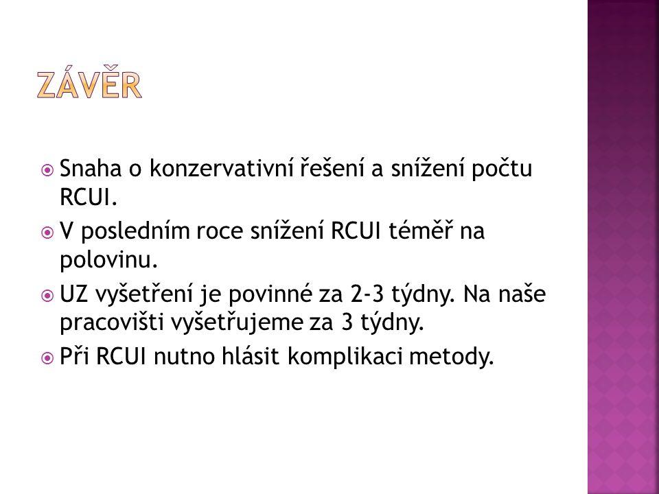  Snaha o konzervativní řešení a snížení počtu RCUI.