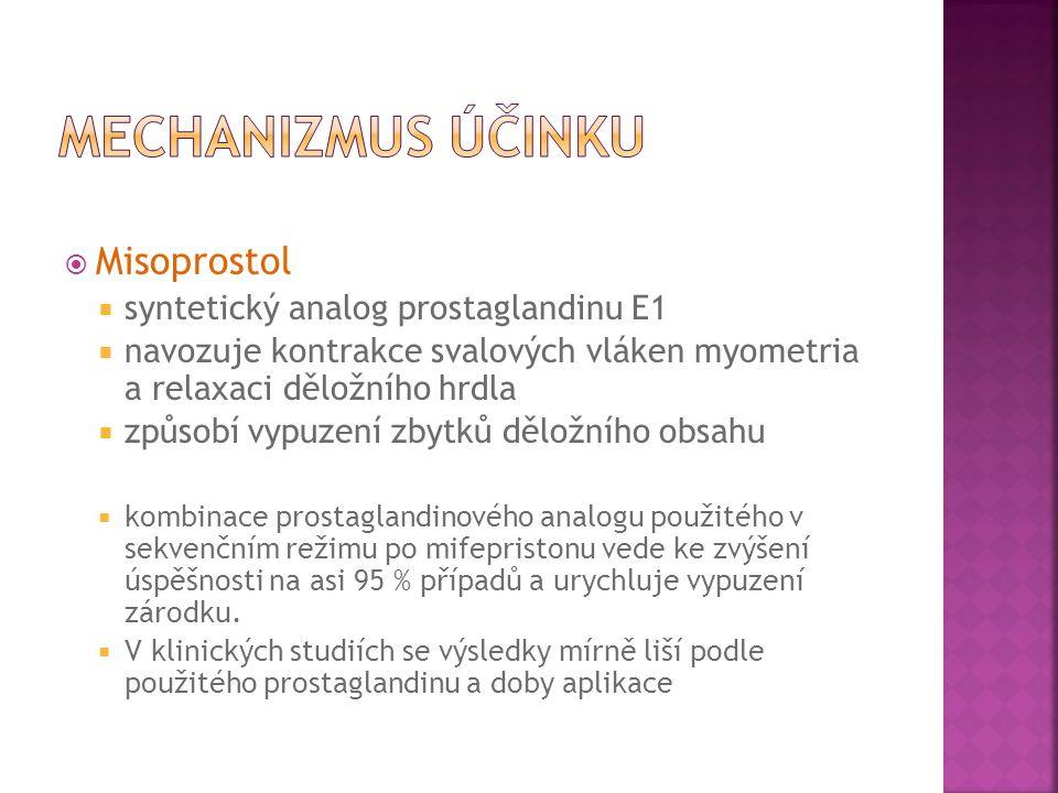 Misoprostol  syntetický analog prostaglandinu E1  navozuje kontrakce svalových vláken myometria a relaxaci děložního hrdla  způsobí vypuzení zbytků děložního obsahu  kombinace prostaglandinového analogu použitého v sekvenčním režimu po mifepristonu vede ke zvýšení úspěšnosti na asi 95 % případů a urychluje vypuzení zárodku.