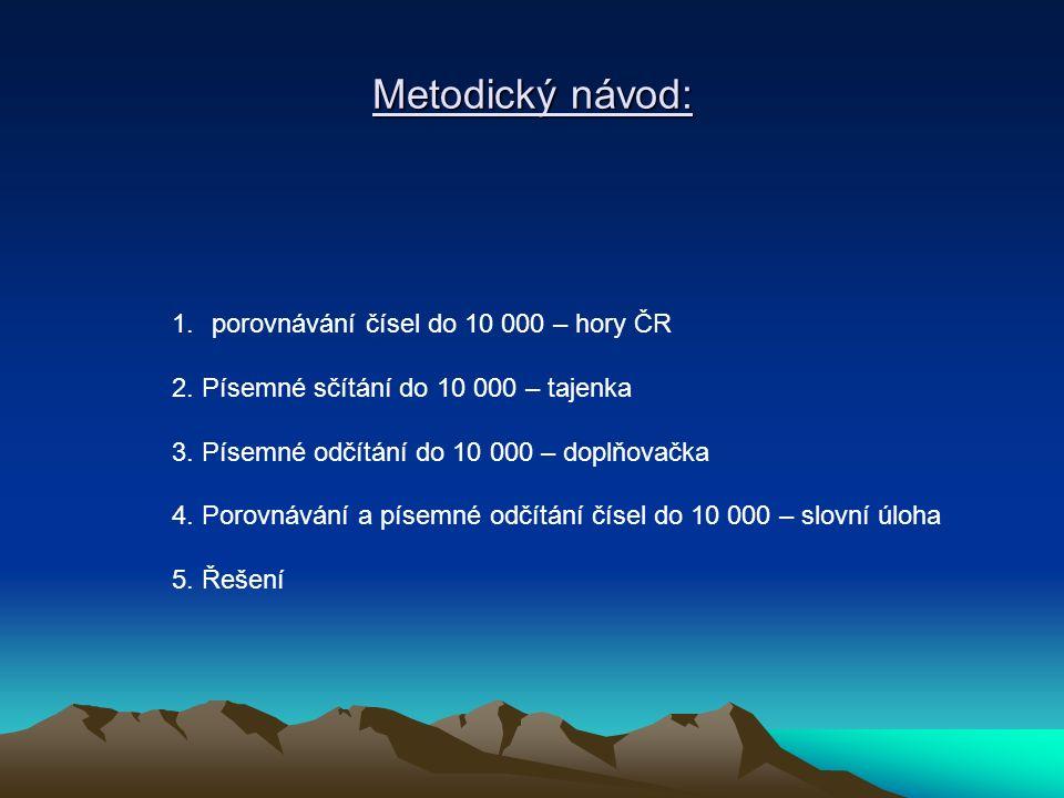 Metodický návod: 1.porovnávání čísel do 10 000 – hory ČR 2.