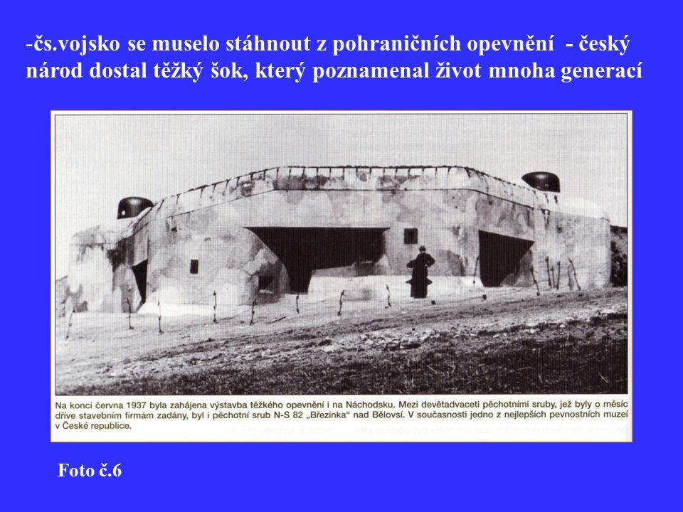 -čs.vojsko se muselo stáhnout z pohraničních opevnění - český národ dostal těžký šok, který poznamenal život mnoha generací Foto č.6