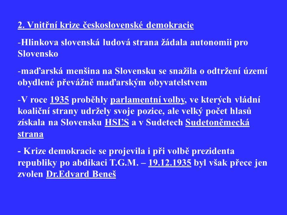 2. Vnitřní krize československé demokracie -Hlinkova slovenská ludová strana žádala autonomii pro Slovensko -maďarská menšina na Slovensku se snažila