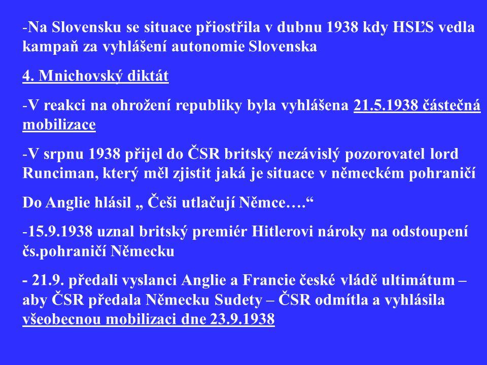 -Na Slovensku se situace přiostřila v dubnu 1938 kdy HSĽS vedla kampaň za vyhlášení autonomie Slovenska 4. Mnichovský diktát -V reakci na ohrožení rep