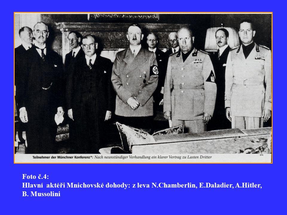 Foto č.4: Hlavní aktéři Mnichovské dohody: z leva N.Chamberlin, E.Daladier, A.Hitler, B. Mussolini