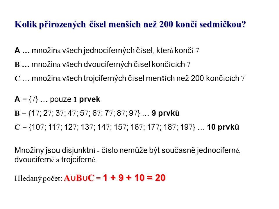 Kolik přirozených čísel menších než 200 končí sedmičkou.