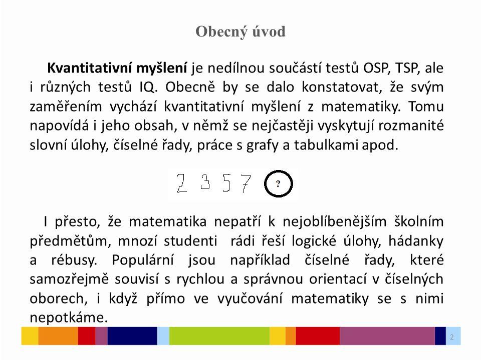 2 Obecný úvod Kvantitativní myšlení je nedílnou součástí testů OSP, TSP, ale i různých testů IQ.