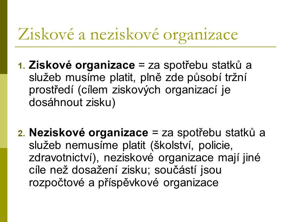 Ziskové a neziskové organizace 1.