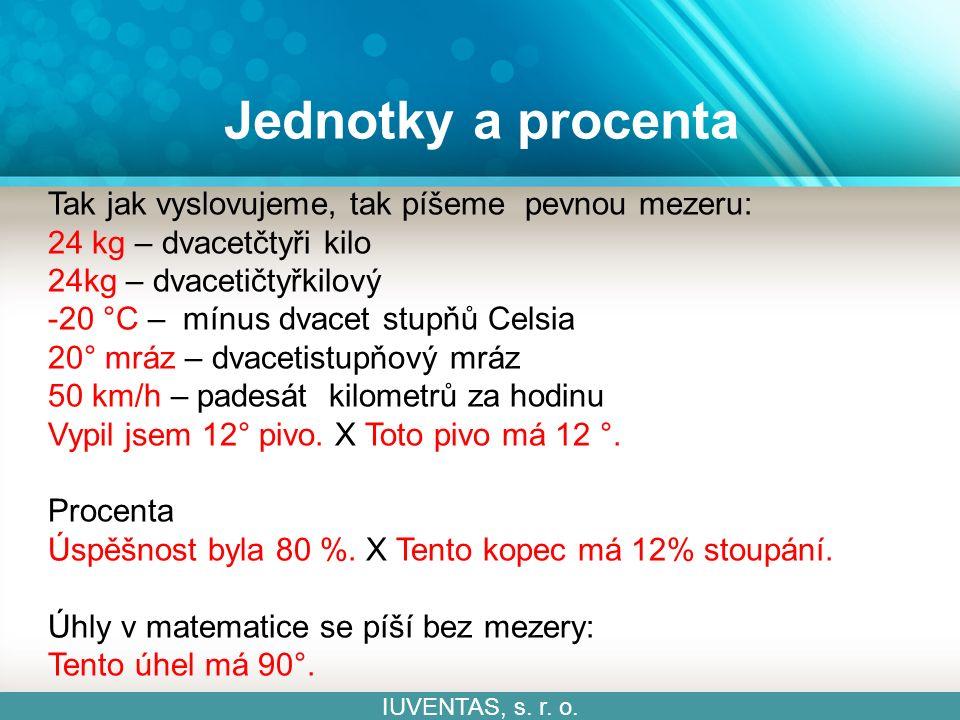 Jednotky a procenta IUVENTAS, s. r. o.