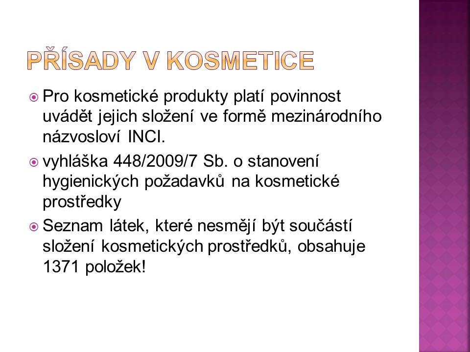  Pro kosmetické produkty platí povinnost uvádět jejich složení ve formě mezinárodního názvosloví INCI.  vyhláška 448/2009/7 Sb. o stanovení hygienic