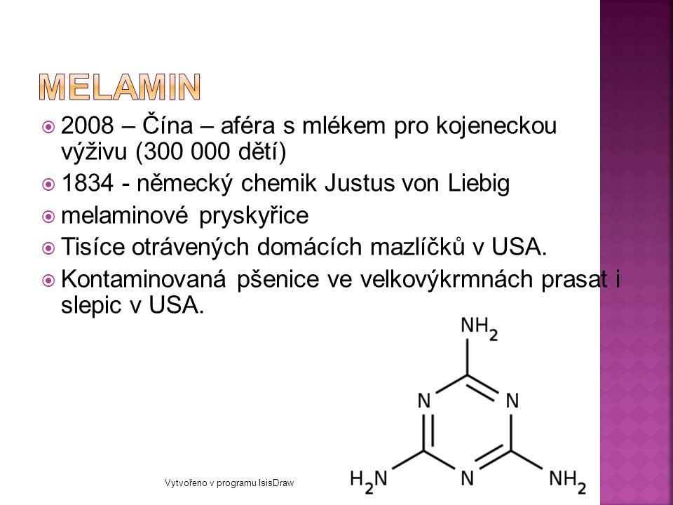  2008 – Čína – aféra s mlékem pro kojeneckou výživu (300 000 dětí)  1834 - německý chemik Justus von Liebig  melaminové pryskyřice  Tisíce otrávených domácích mazlíčků v USA.