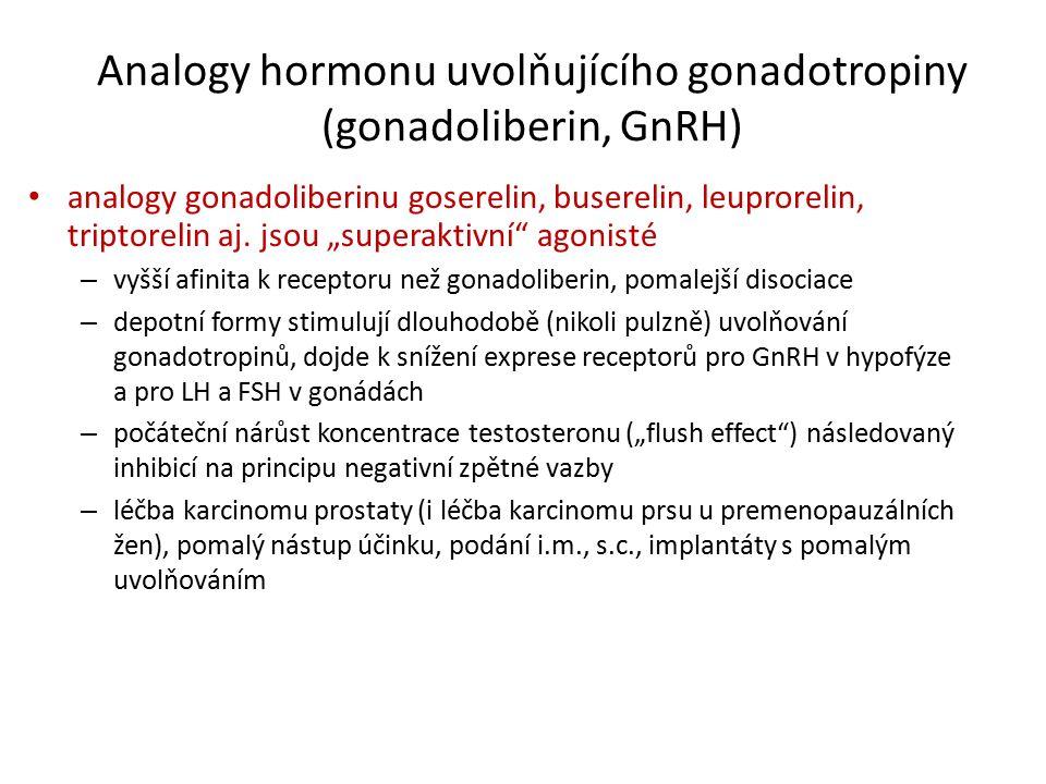 Analogy hormonu uvolňujícího gonadotropiny (gonadoliberin, GnRH) analogy gonadoliberinu goserelin, buserelin, leuprorelin, triptorelin aj.