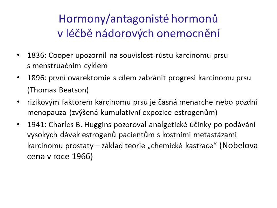 Hormony/antagonisté hormonů v léčbě nádorových onemocnění 1836: Cooper upozornil na souvislost růstu karcinomu prsu s menstruačním cyklem 1896: první ovarektomie s cílem zabránit progresi karcinomu prsu (Thomas Beatson) rizikovým faktorem karcinomu prsu je časná menarche nebo pozdní menopauza (zvýšená kumulativní expozice estrogenům) 1941: Charles B.