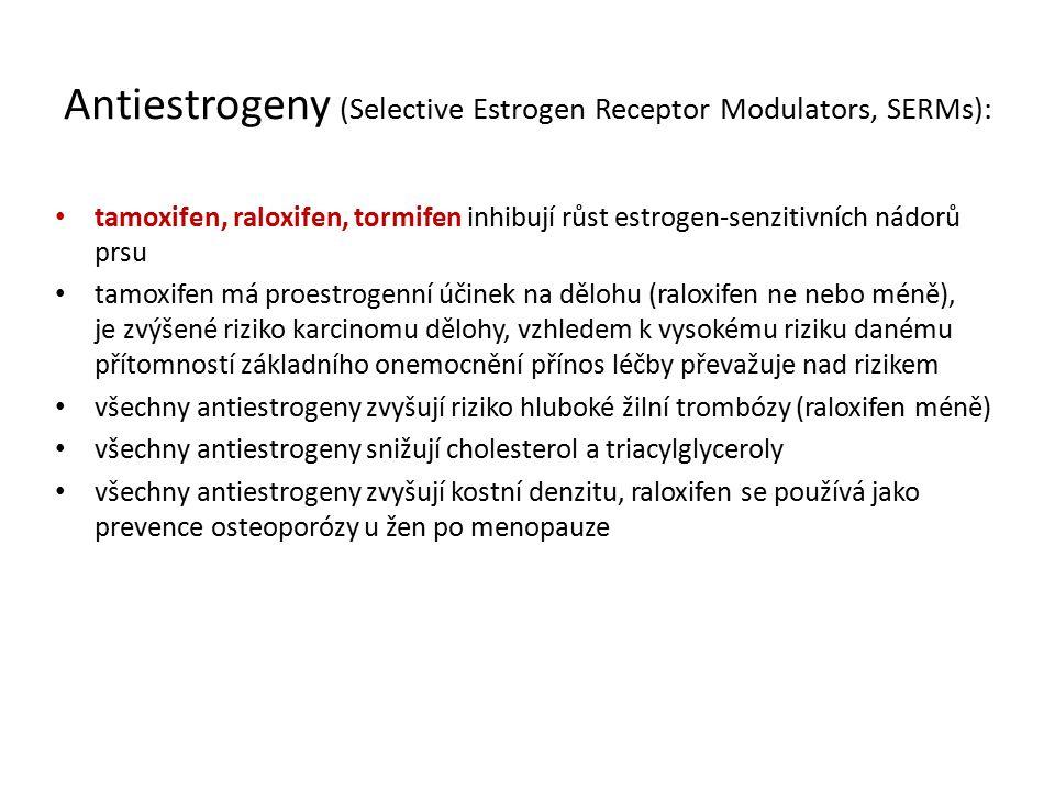 Antiestrogeny (Selective Estrogen Receptor Modulators, SERMs): tamoxifen, raloxifen, tormifen inhibují růst estrogen-senzitivních nádorů prsu tamoxifen má proestrogenní účinek na dělohu (raloxifen ne nebo méně), je zvýšené riziko karcinomu dělohy, vzhledem k vysokému riziku danému přítomností základního onemocnění přínos léčby převažuje nad rizikem všechny antiestrogeny zvyšují riziko hluboké žilní trombózy (raloxifen méně) všechny antiestrogeny snižují cholesterol a triacylglyceroly všechny antiestrogeny zvyšují kostní denzitu, raloxifen se používá jako prevence osteoporózy u žen po menopauze