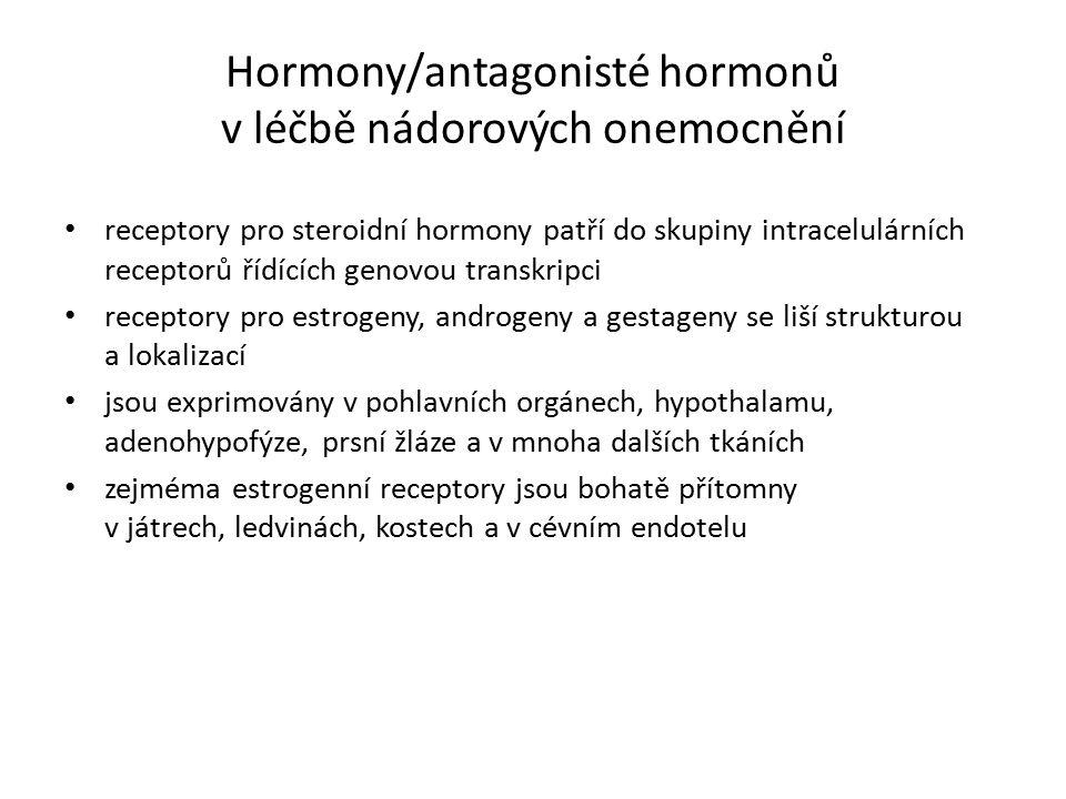 Hormony/antagonisté hormonů v léčbě nádorových onemocnění receptory pro steroidní hormony patří do skupiny intracelulárních receptorů řídících genovou transkripci receptory pro estrogeny, androgeny a gestageny se liší strukturou a lokalizací jsou exprimovány v pohlavních orgánech, hypothalamu, adenohypofýze, prsní žláze a v mnoha dalších tkáních zejméma estrogenní receptory jsou bohatě přítomny v játrech, ledvinách, kostech a v cévním endotelu