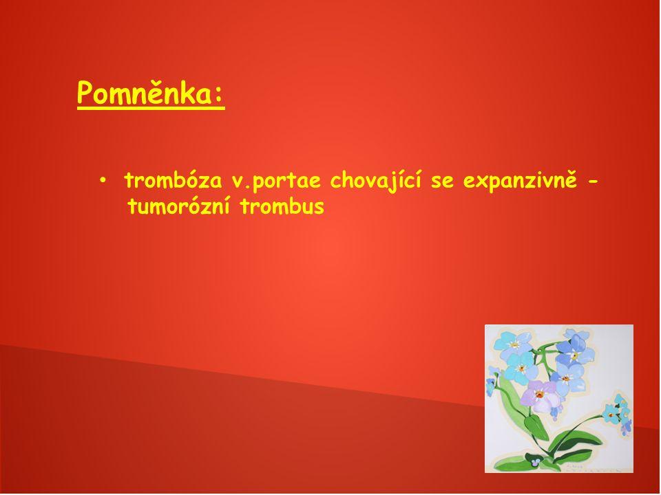 Pomněnka: trombóza v.portae chovající se expanzivně - tumorózní trombus