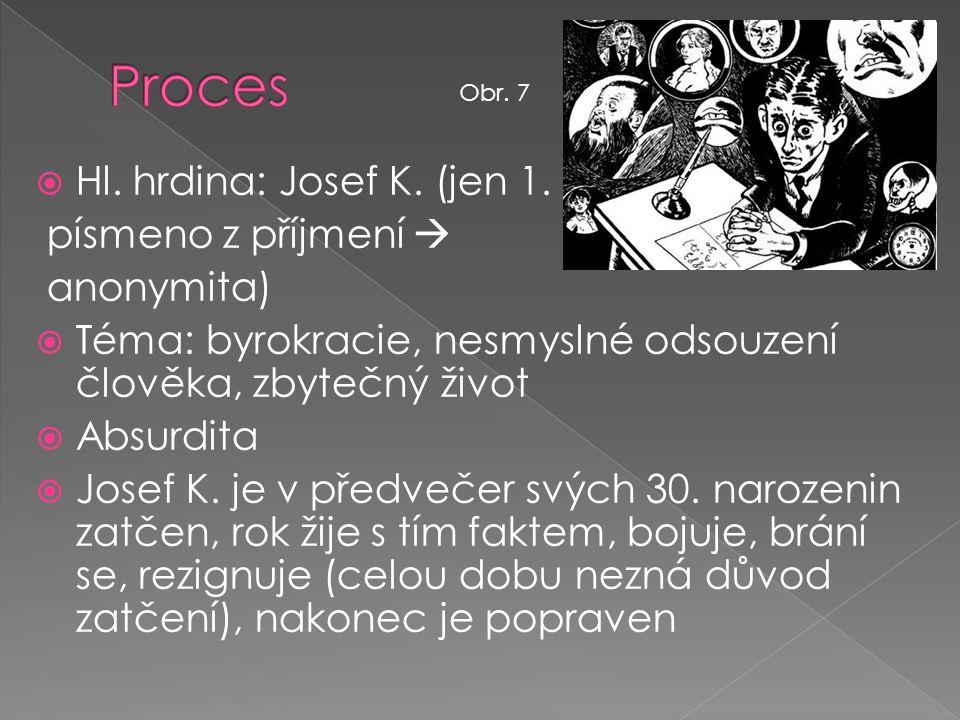  Hl. hrdina: Josef K. (jen 1. písmeno z příjmení  anonymita)  Téma: byrokracie, nesmyslné odsouzení člověka, zbytečný život  Absurdita  Josef K.