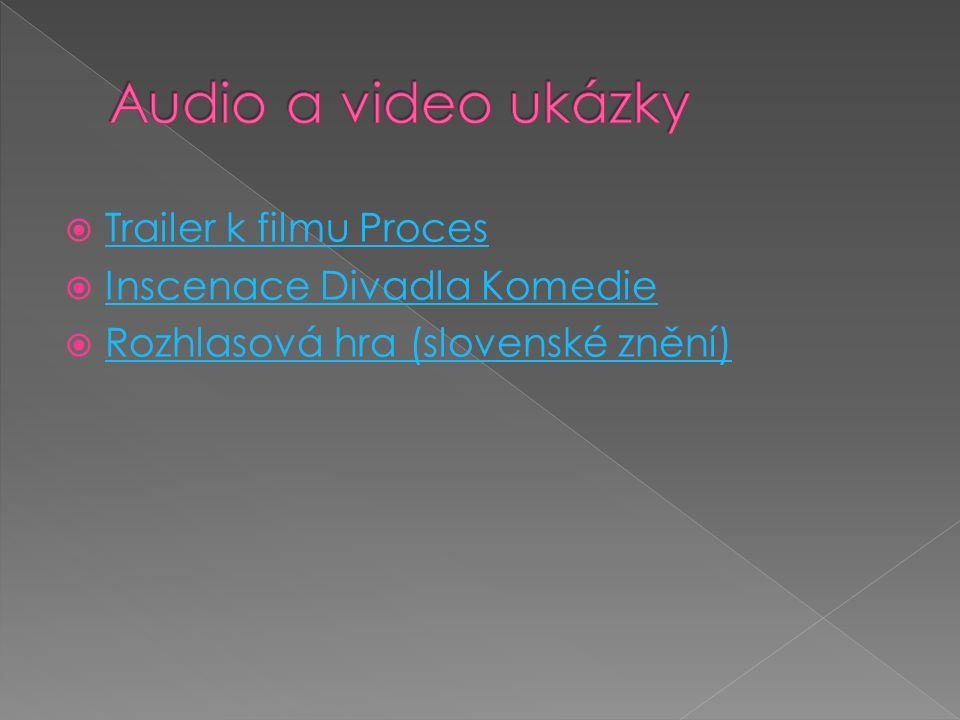  Trailer k filmu Proces Trailer k filmu Proces  Inscenace Divadla Komedie Inscenace Divadla Komedie  Rozhlasová hra (slovenské znění) Rozhlasová hr
