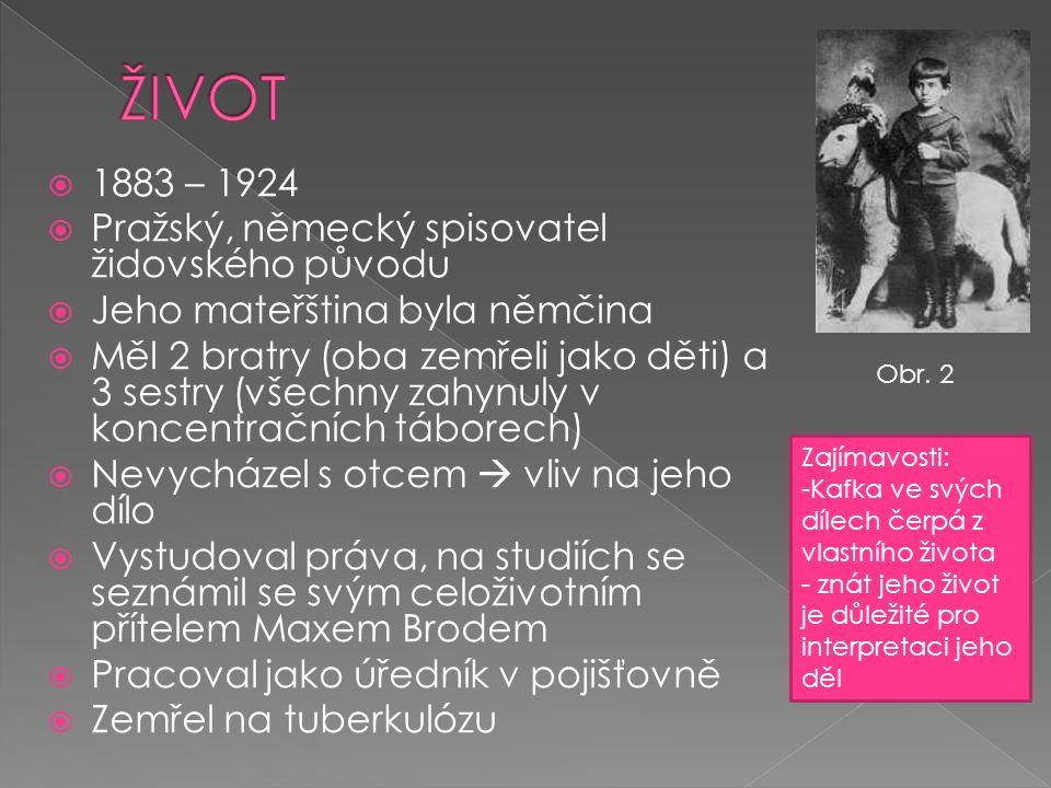  1883 – 1924  Pražský, německý spisovatel židovského původu  Jeho mateřština byla němčina  Měl 2 bratry (oba zemřeli jako děti) a 3 sestry (všechn
