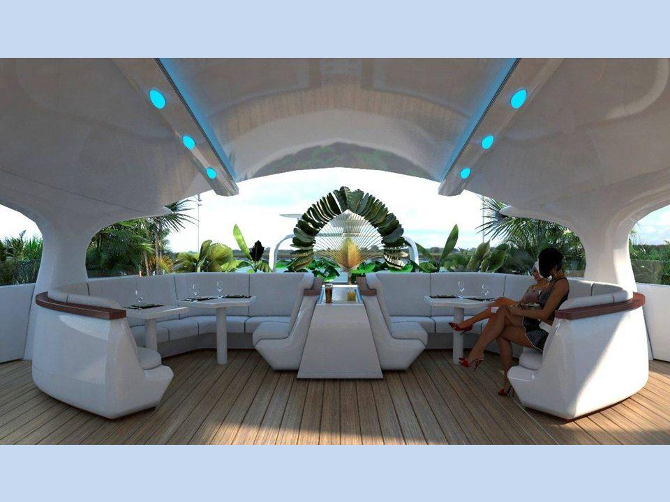 V této části horní paluby se nachází salonek s barem a pohodlným posezením pro více osob. Salonek slouží i jako příjemné útočiště před sluncem.