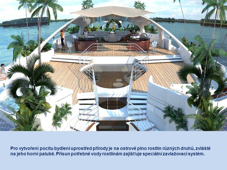 Pod víceúčelovou plochou na přední straně ostrova je kabina pro vodní sporty, úschovna potápěčského vybavení, kotviště pro motorové čluny a zařízení p