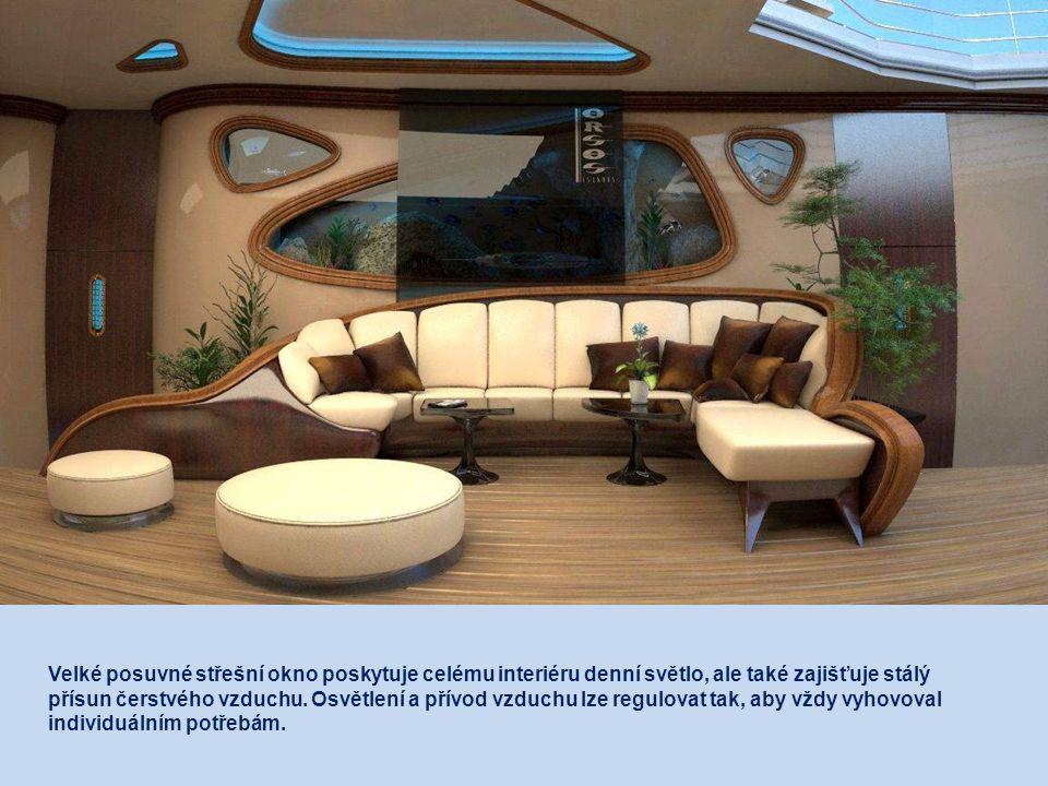 V prostorech na střední palubě se nachází hlavní obývací pokoj, jídelna, menší kuchyňka a šest dvoulůžkových pokojů po 20 metrech čtverečních.