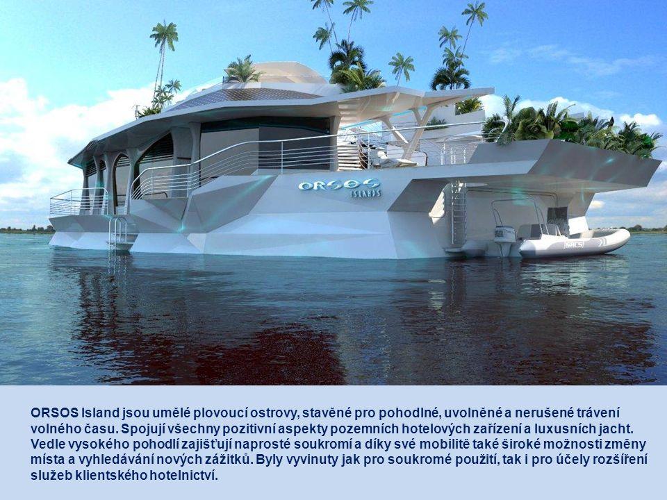 Pod víceúčelovou plochou na přední straně ostrova je kabina pro vodní sporty, úschovna potápěčského vybavení, kotviště pro motorové čluny a zařízení pro nakládání zboží a vykládání odpadu.