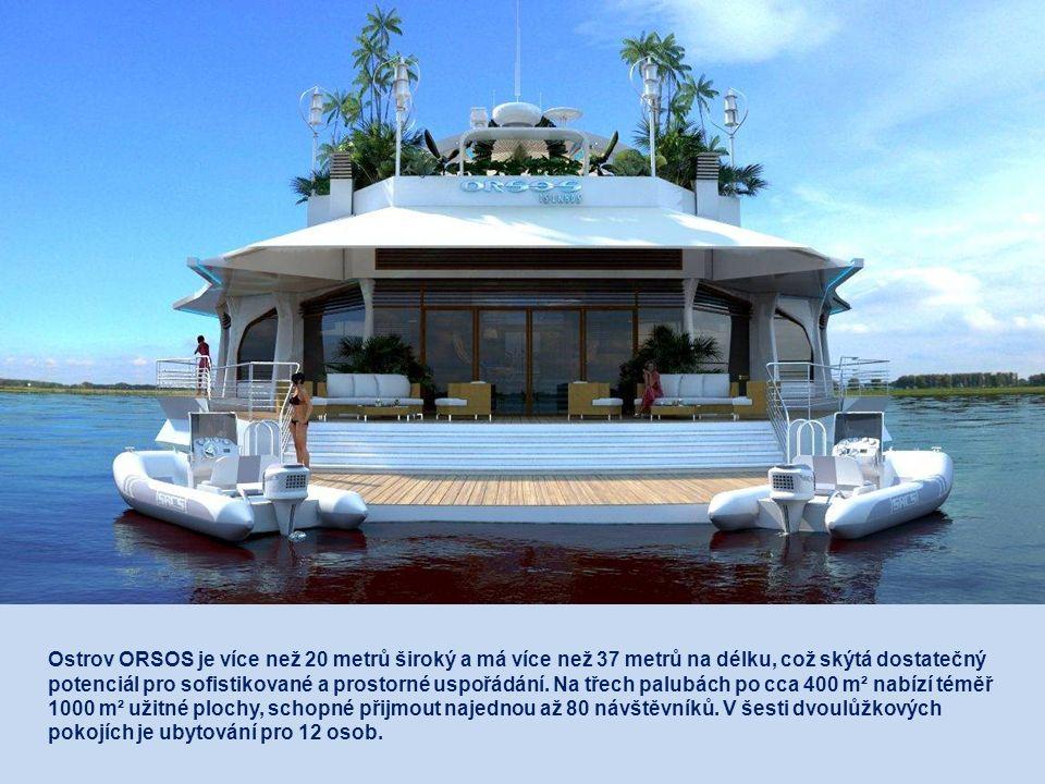Ostrov ORSOS je více než 20 metrů široký a má více než 37 metrů na délku, což skýtá dostatečný potenciál pro sofistikované a prostorné uspořádání.