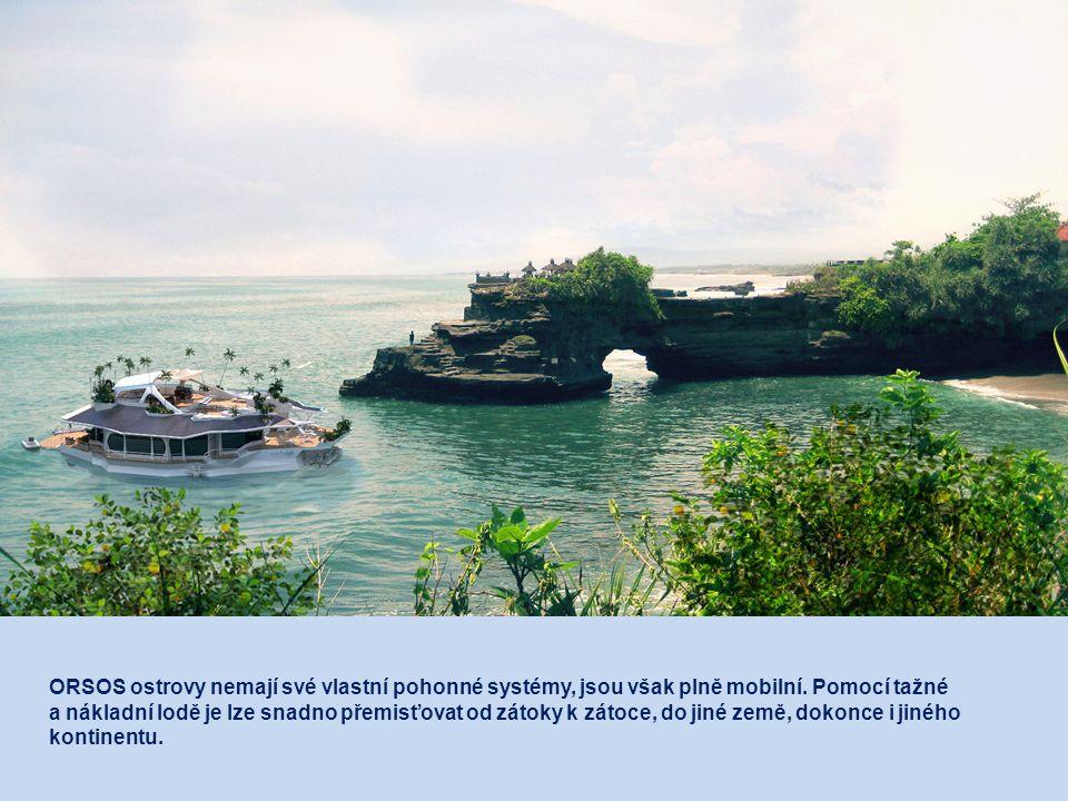 ORSOS ostrovy nemají své vlastní pohonné systémy, jsou však plně mobilní.