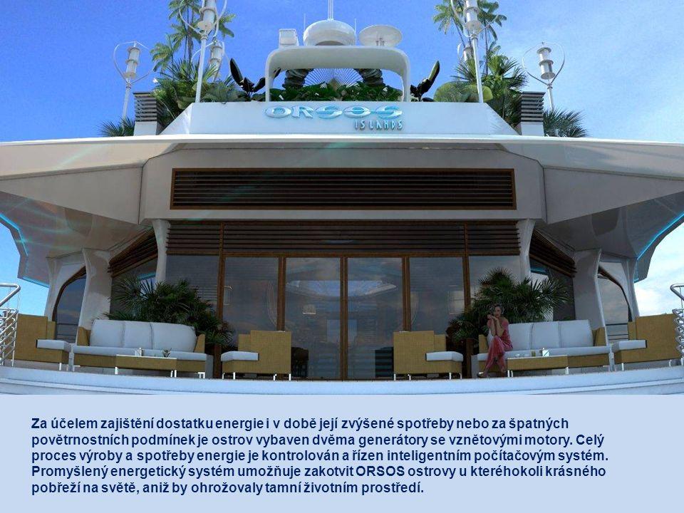 Každý ostrov je zcela energeticky autonomní. Energii potřebnou pro provoz ostrovu dnem i nocí dodává bezhlučný větrný energetický systém, ke kterému s