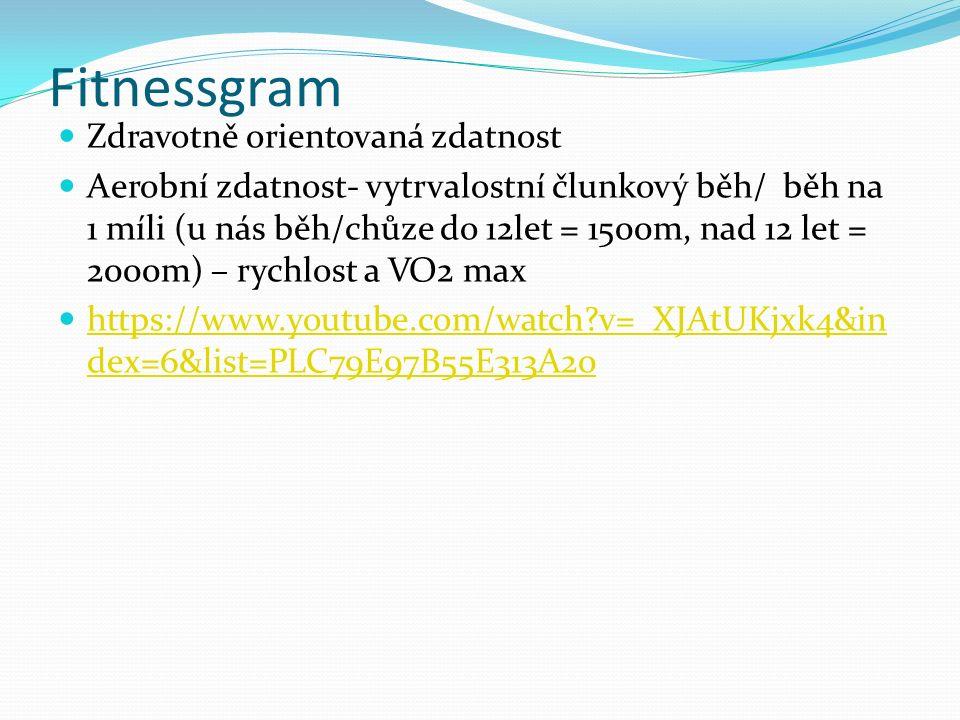 Fitnessgram Zdravotně orientovaná zdatnost Aerobní zdatnost- vytrvalostní člunkový běh/ běh na 1 míli (u nás běh/chůze do 12let = 1500m, nad 12 let = 2000m) – rychlost a VO2 max https://www.youtube.com/watch?v=_XJAtUKjxk4&in dex=6&list=PLC79E97B55E313A20 https://www.youtube.com/watch?v=_XJAtUKjxk4&in dex=6&list=PLC79E97B55E313A20