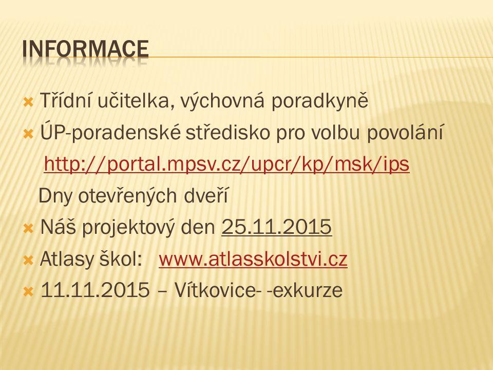 Třídní učitelka, výchovná poradkyně  ÚP-poradenské středisko pro volbu povolání http://portal.mpsv.cz/upcr/kp/msk/ips Dny otevřených dveří  Náš projektový den 25.11.2015  Atlasy škol: www.atlasskolstvi.czwww.atlasskolstvi.cz  11.11.2015 – Vítkovice- -exkurze