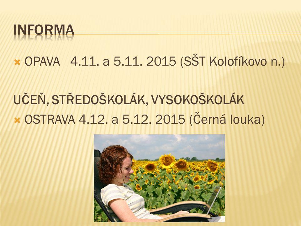  OPAVA 4.11. a 5.11. 2015 (SŠT Kolofíkovo n.) UČEŇ, STŘEDOŠKOLÁK, VYSOKOŠKOLÁK  OSTRAVA 4.12.